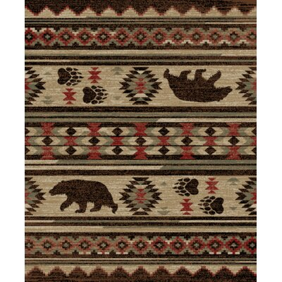 Perryman Lodge Bear Beige/Brown Area Rug Rug Size: Rectangle 53 x 73