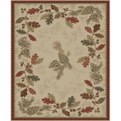 Perryville Lodge Oak Leaves Beige/Red Area Rug Rug Size: Rectangle 710 x 910