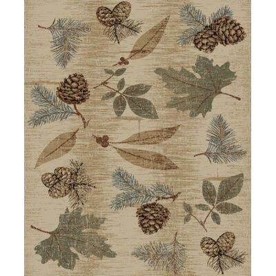 Perz Fall Leaves Pine Cone Rustic Beige/Blue Area Rug Rug Size: Rectangle 53 x 73
