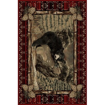Pesce Rustic Lodge Pine Bear Cub Log Beige/Red Area Rug Rug Size: Rectangle 710 x 910