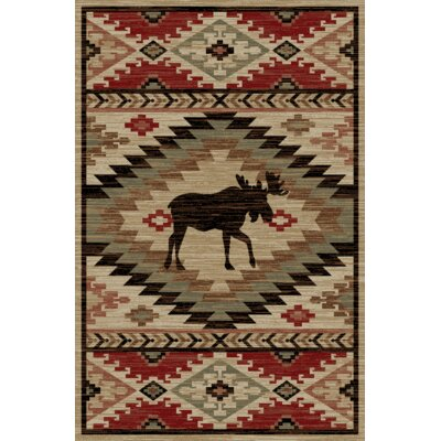 Peterkin Rustic Lodge Southwestern Elk Beige/Red Area Rug Rug Size: Rectangle 710 x 910