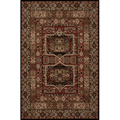 Coaker Ebony/Red Area Rug Rug Size: Rectangle 5 x 8