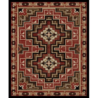 Perrault Brown/Red Area Rug Rug Size: Rectangle 23 x 33