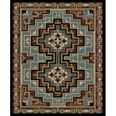 Windsor Lane Yuma Brown/Blue Area Rug Rug Size: Rectangle 8 x 10