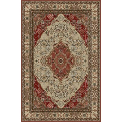 Heideman Beige/Red Area Rug Rug Size: Rectangle 53 x 77