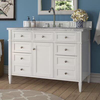 Deleon 48 Single Burnished Mahogany Stone Top Bathroom Vanity Set Base Finish: Cottage White