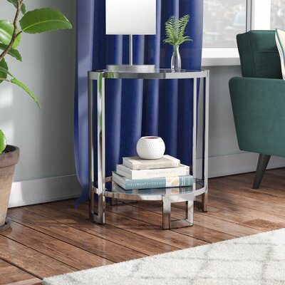 Jenny Glass and Metal End Table Color: Chrome