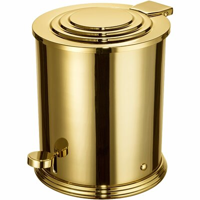 Scala Round Brass Step On Trash Can Color: Gold 89170-G
