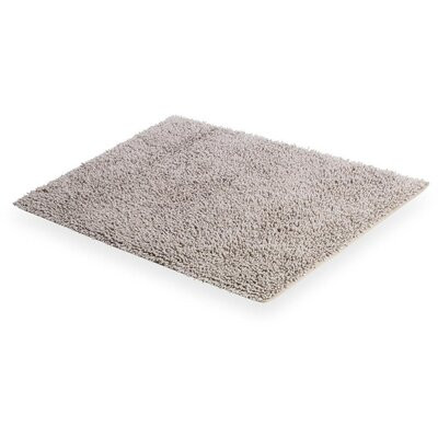 Cuadrado Handmade Absorbent 100% Cotton Decorated Bath Rug Color: Gray
