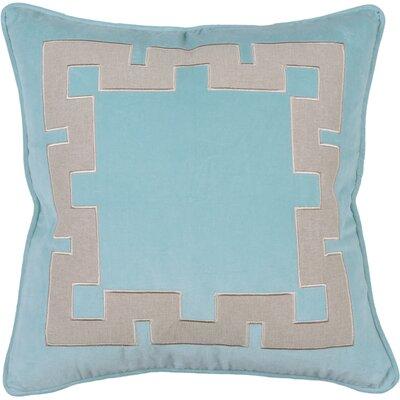 Spring II Aegean Key Cotton Throw Pillow Color: Aqua