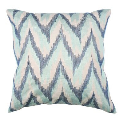 Spring II Flame Ikat Cotton Throw Pillow Color: Cobalt