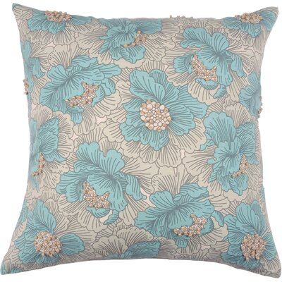 Spring II Vintage Floral Cotton Throw Pillow Color: Aqua
