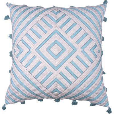 Spring II Diamond Embellished Cotton Throw Pillow Color: Aqua