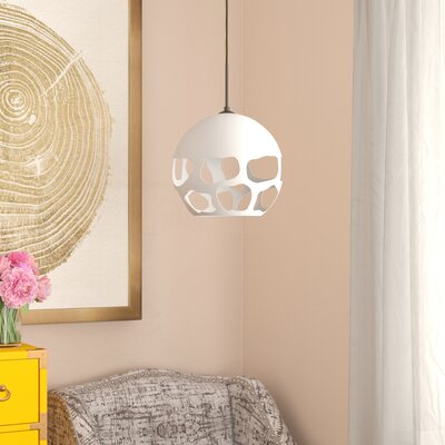 Jason 1-Light Globe Pendant Finish: Bronze, Shade Color: White
