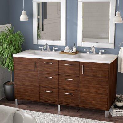 Cordie 60 Double American Walnut Bathroom Vanity Set Base Finish: American Walnut