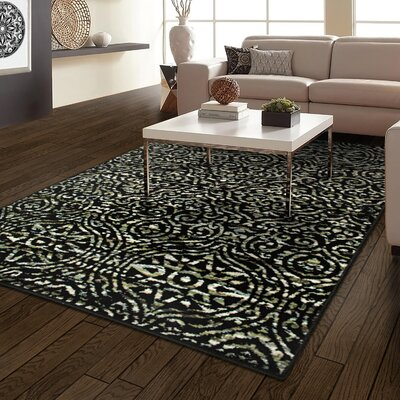 Crossland Black/Green Area Rug Rug Size: Rectangle 4 x 6
