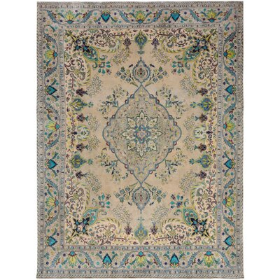 One-of-a-Kind Gosnold Hand-Knotted Wool Beige/Blue Area Rug