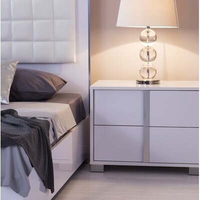 Gower 2 Drawer Nightstand Color: Glistening White, Door Configuration: Left