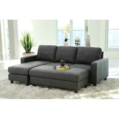Grindle Modular Sectional with Ottoman Upholstery: Charcoal