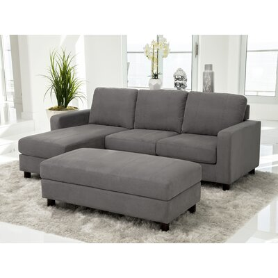 Grindle Modular Sectional with Ottoman Upholstery: Gray