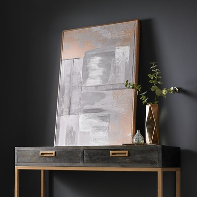 'Rose Gold Glow' Framed Acrylic Painting Print on Canvas