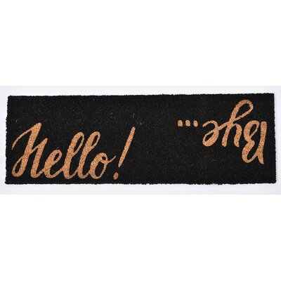 Sheltered Printed Hello Bye Coir Coco Fiber Doormat