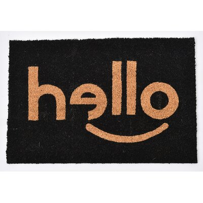 Sheltered Printed Hello Coir Coco Fiber Doormat Color: Black