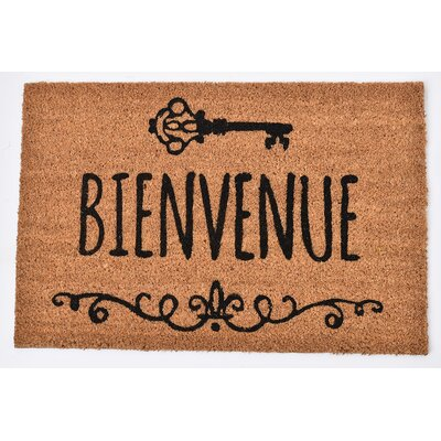 Sheltered Printed Bienvenue Coir Coco Fiber Doormat
