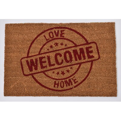 Sheltered Printed Love Welcome Home Coir Coco Fiber Doormat