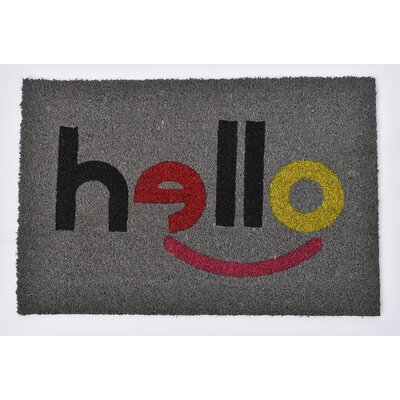 Sheltered Printed Hello Coir Coco Fiber Doormat Color: Gray