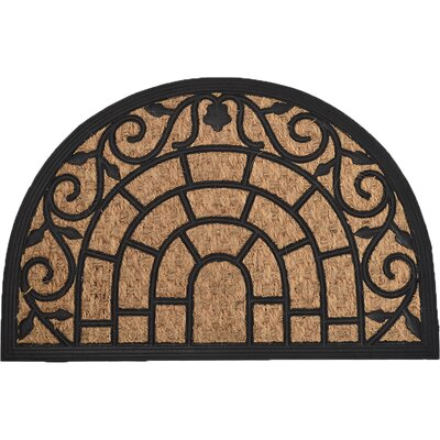 Sheltered Half Round Harry Braided Coir Coco Rubber Doormat