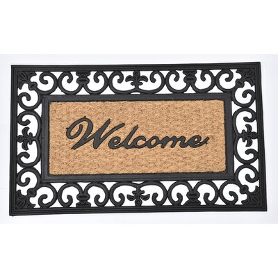 Sheltered Printed Welcome Braided Coir Coco Rubber Doormat