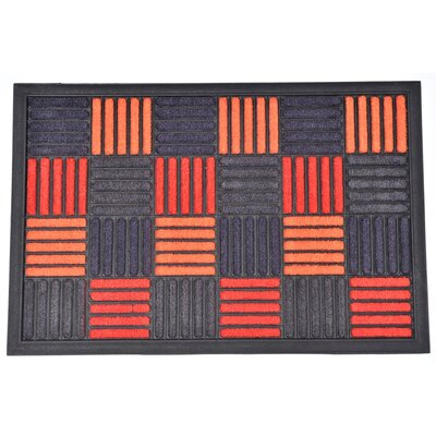 Sheltered Caroll Nylon Rubber Doormat Color: Orange