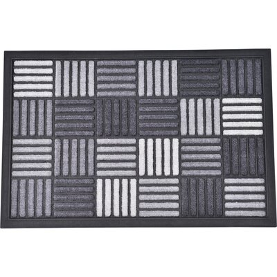 Sheltered Caroll Nylon Rubber Doormat Color: Gray