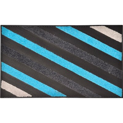 Sheltered Blake Nylon Rubber Doormat Color: Blue