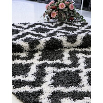 Konopka Modern Shaggy Dark Gray/White Area Rug Rug Size: Rectangle 65 x 95