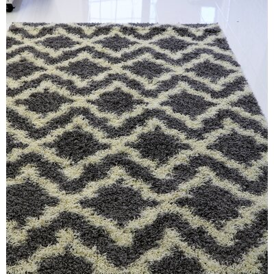 Gerson Shaggy Light Gray/Cream Area Rug Rug Size: Rectangle 52 x 76