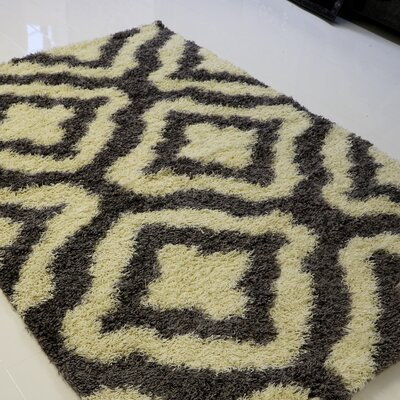 Koontz Shaggy Stylish Comfortable Elegant Gray/Cream Area Rug Rug Size: Rectangle 65 x 95