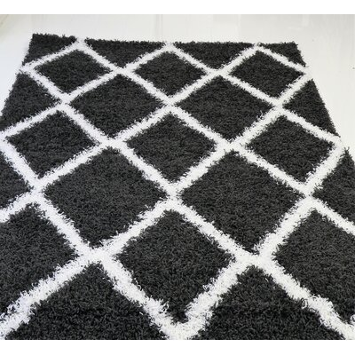 Gessner Modern Shaggy Dark Gray/White Area Rug Rug Size: Rectangle 65 x 95