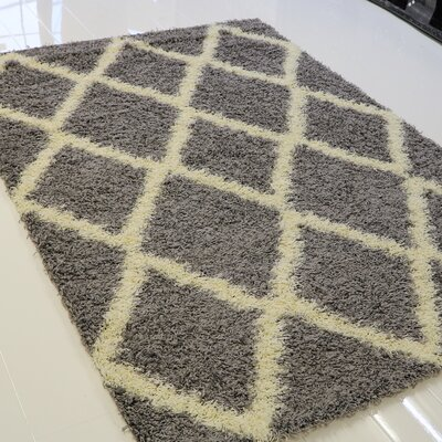 Gessner Modern Shaggy Light Gray/Cream Area Rug Rug Size: Round 5 x 5