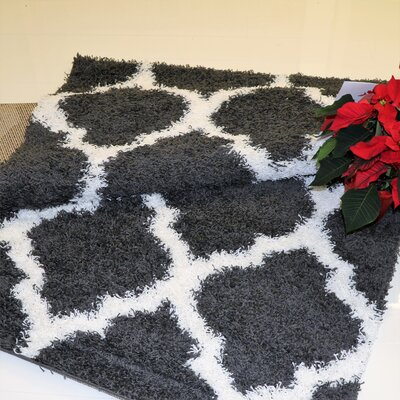 Konopka Modern Shaggy Dark Gray/White Area Rug Rug Size: Rectangle 78 x 104