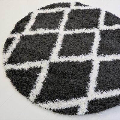 Gessner Modern Shaggy Dark Gray/White Area Rug Rug Size: Round 5 x 5