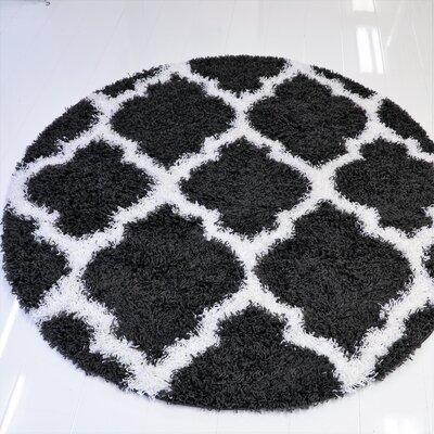 Konopka Modern Shaggy Dark Gray/White Area Rug Rug Size: Round 5 x 5