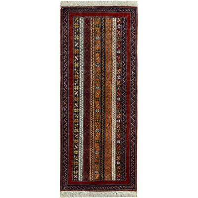 One-of-a-Kind Husby Hand-Knotted Wool Red/Blue Area Rug
