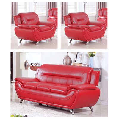 Juliano Modern 3 Piece Living Room Set Upholstery: Red
