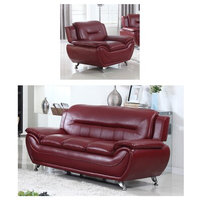 Juliano Modern 2 Piece Living Room Set Upholstery: Burgundy