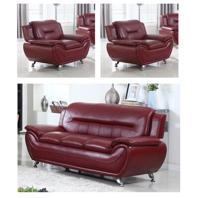 Juliano Modern 3 Piece Living Room Set Upholstery: Burgundy