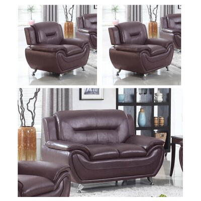 Juliano Modern 3 Piece Living Room Set Upholstery: Dark Brown