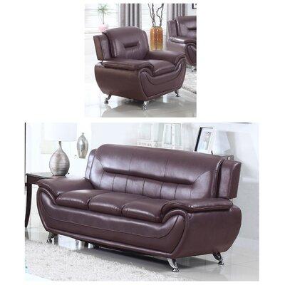 Juliano Modern 2 Piece Living Room Set Upholstery: Dark Brown