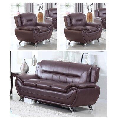 Juliano Modern 3 Piece Living Room Set Upholstery: Dark Brown